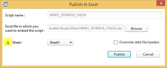 Ein Skript mit einer Excel-Datendatei veröffentlichen, Studio v11