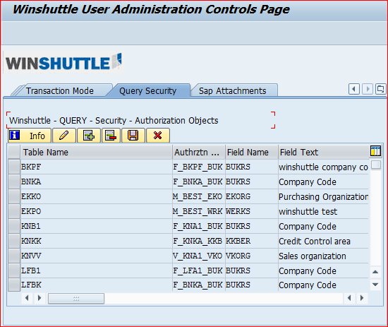 Change, insert or delete items in the Query custom security table