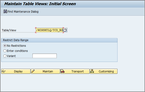 enter table name click maintain