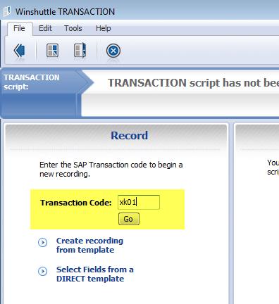 Winshuttle Composer Web Tutorial: Step 1-1 - Recording SAP