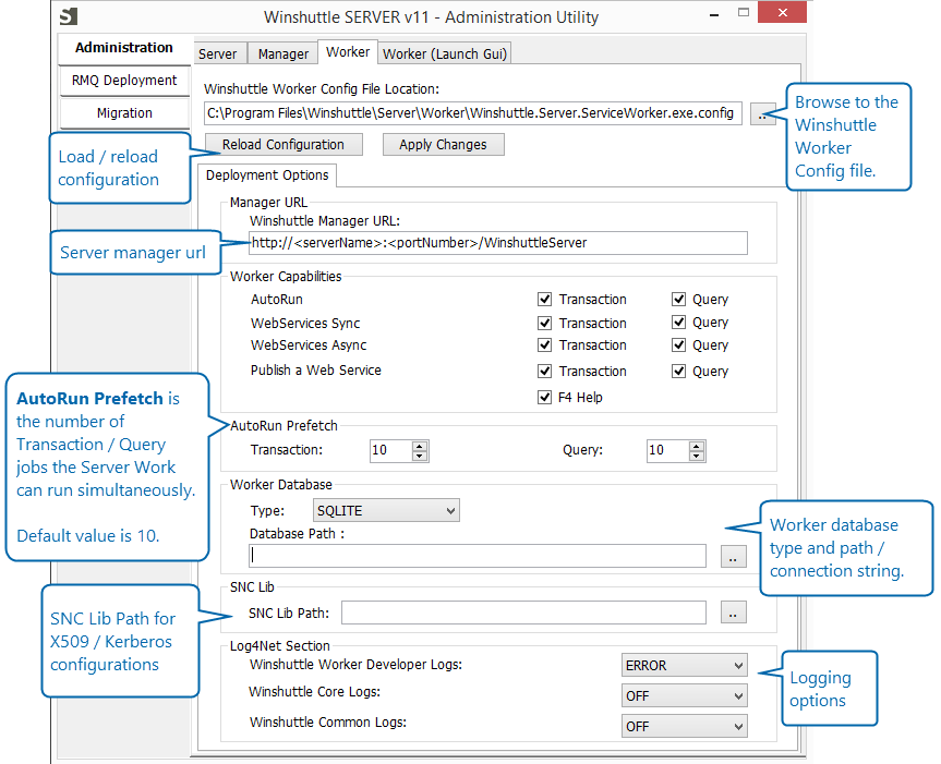 Configuring the Server Worker for Winshuttle SAP Integration