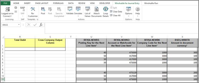 FB01 multi-company template, column based