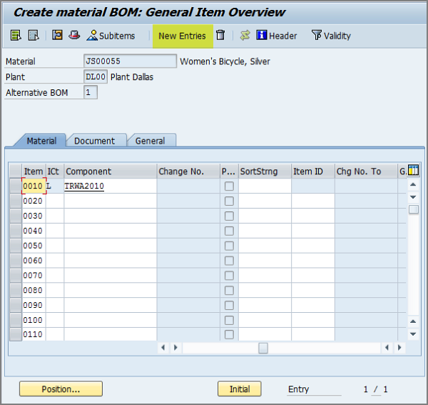 CS01 step by step: Creating a Bill of Materials