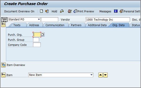 ME21N: Creating a purchase order